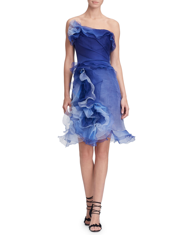 52157532479 Marchesa Strapless Ombre Ruffled-Silk Cocktail Dress