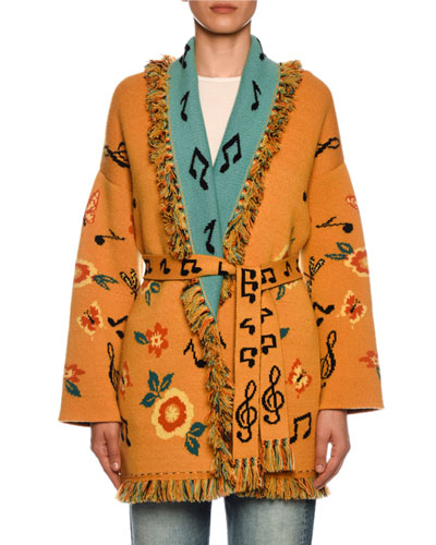 Sweetheart Jacquard Cashmere Belted Cardigan