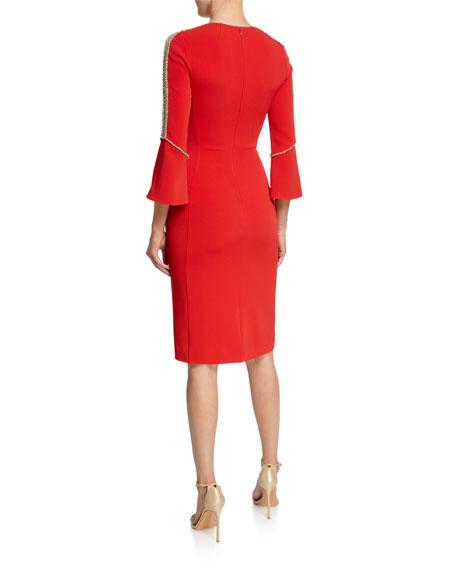 Jenny Packham Debo Beaded-Seam Bell-Sleeve Stretch Crepe Dress