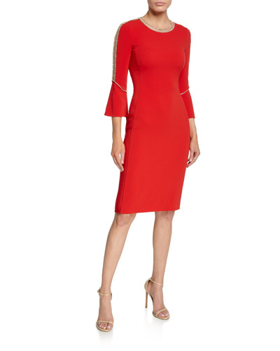 Debo Beaded-Seam Bell-Sleeve Stretch Crepe Dress