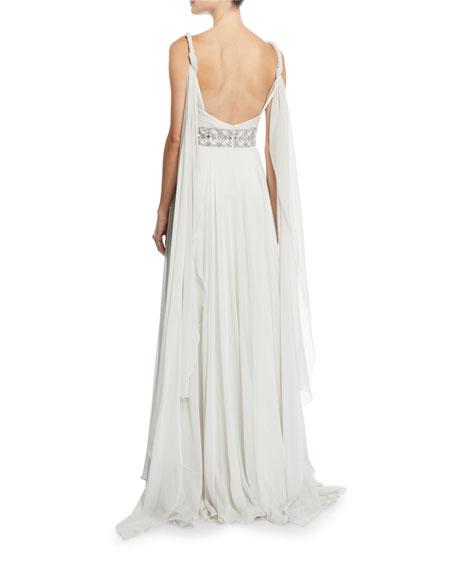 Jenny Packham Tahoe Wrapped Silk-Chiffon V-Neck Gown