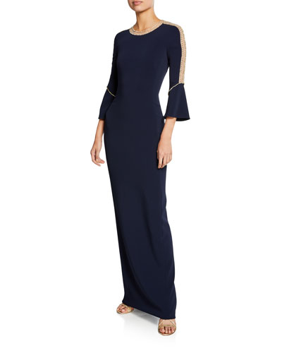 Dian Long Bell-Sleeve Gown