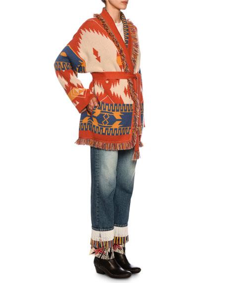 Alanui Icon Ikat-Jacquard Cashmere Belted Cardigan