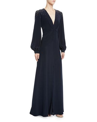 Vivietta Embellished-Shoulder Long-Sleeve Gown