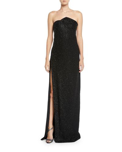 Chalet Strapless Slit-Skirt Shimmer Column Gown