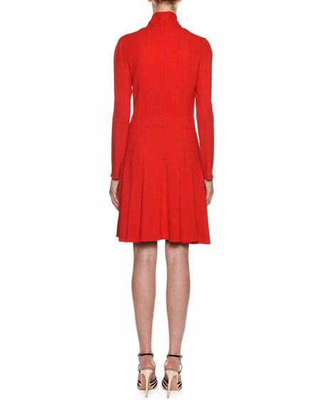 Giambattista Valli Tie-Neck Long-Sleeve Crepe Dress