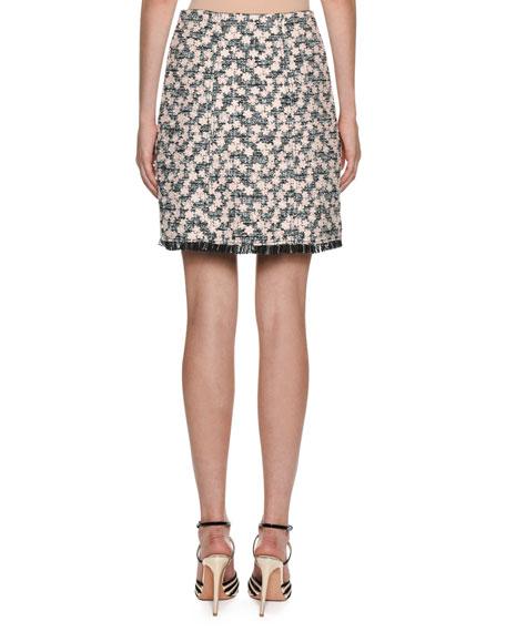 Giambattista Valli Daisy-Embroidered Tweed A-Line Skirt