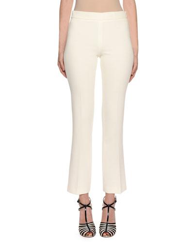 Side-Zip Straight-Leg Stretch-Cotton Pants