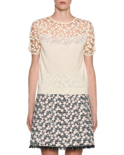 Puff-Sleeve Daisy-Lace Illusion Sweater