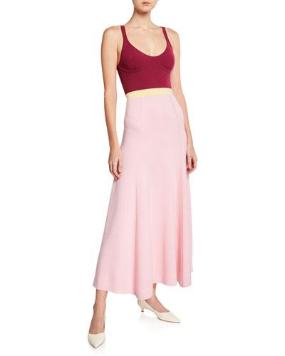 Flaminus Sleeveless Colorblocked Wool-Cashmere Dress