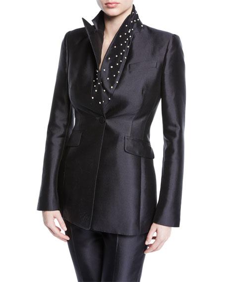 Gabriela Hearst Serge Silk-Wool Pearl-Embellished Blazer