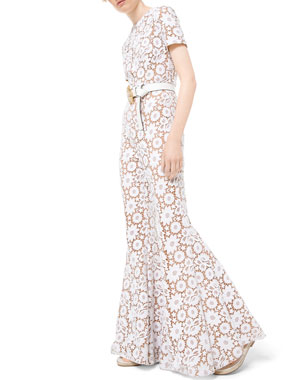 35178b93d77a Michael Kors Collection Floral Guipure Lace Flare-Leg Jumpsuit