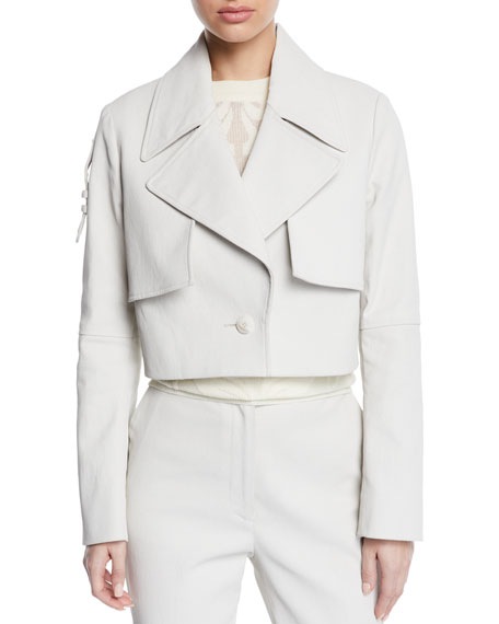 PARTOW Denims BAILEY CROPPED TAB-BACK TRENCH JACKET