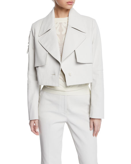 Partow BAILEY CROPPED TAB-BACK TRENCH JACKET