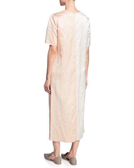 Partow Leigh Bicolor Satin Short-Sleeve Dress