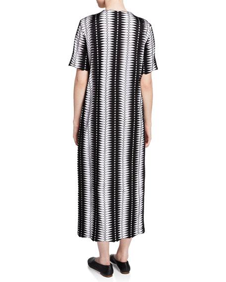 Partow Leigh Lace-Trim Striped Midi Dress