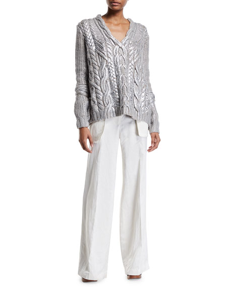 Partow Cameron Wide-Leg Belted Pants
