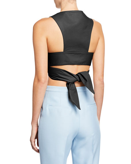 Partow Athena Leather Tie-Back Cropped Vest