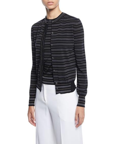 Piazza Sempione Striped Button-Front Cardigan