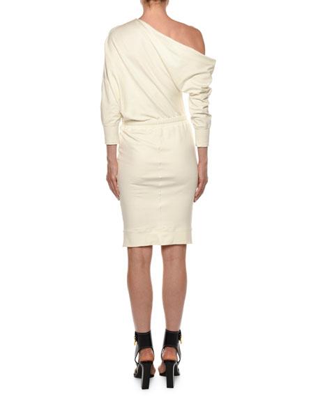 TOM FORD 3/4-Sleeve One-Shoulder Sweatshirt Dress