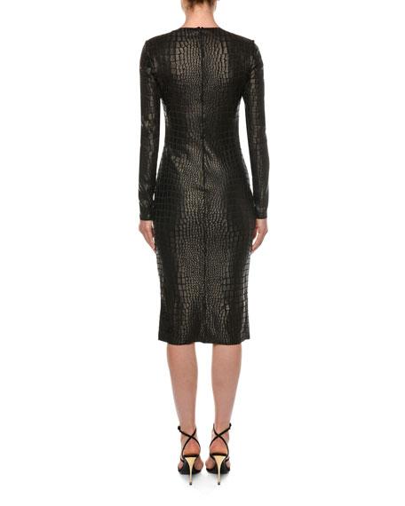 TOM FORD Long-Sleeve Crocodile-Print Sheath Dress