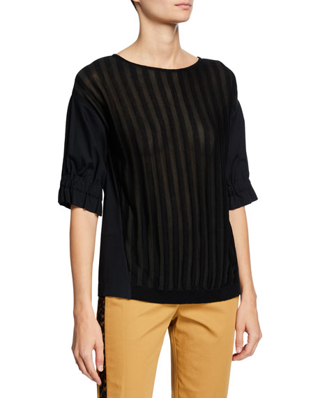 Piazza Sempione Knit Ruffled Short-Sleeve Top