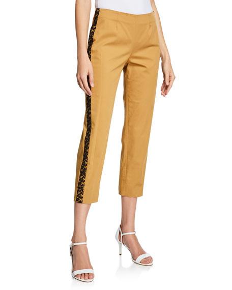 Piazza Sempione Audrey Lace-Trim Cotton Pants, Brown