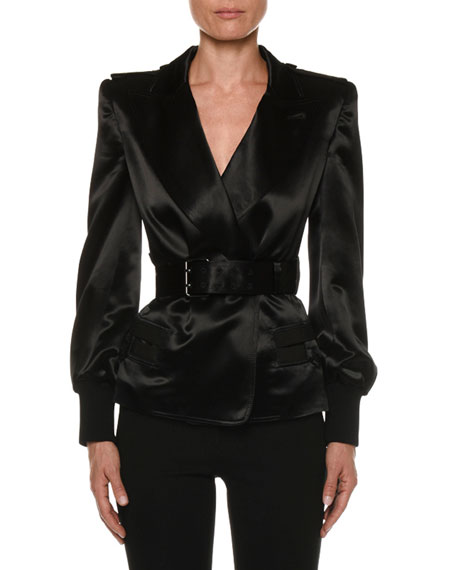 TOM FORD Double-Breasted Belted Satin Blazer