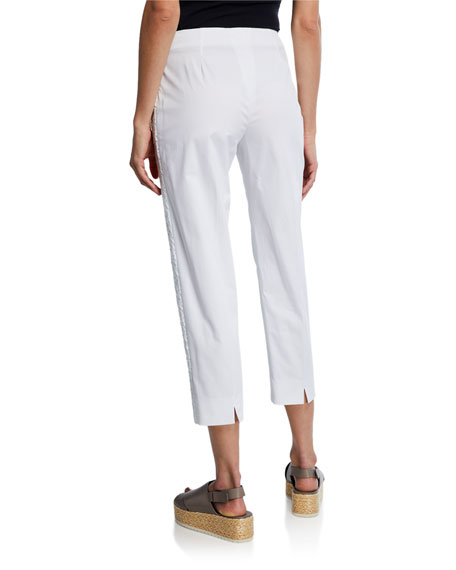 Piazza Sempione Audrey Lace Trim Straight-Leg Pants