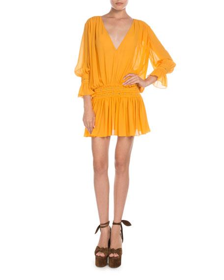 Saint Laurent Smocked Drop-Waist V-Neck Mini Dress