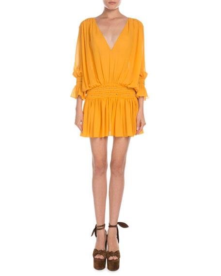 836fb9aa98 Smocked Drop-Waist V-Neck Mini Dress