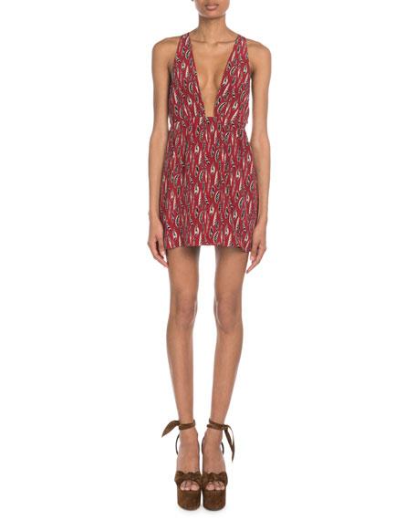Saint Laurent V-Neck Feather-Print Crepe de Chine Mini Dress