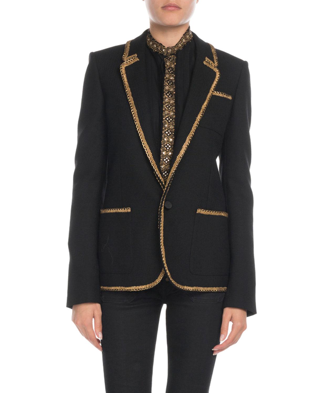 93d5d4e3a8b Saint Laurent Golden-Trim Wool Blazer | Neiman Marcus