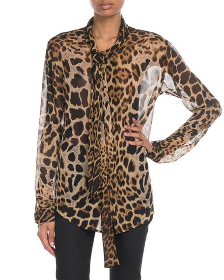 Saint Laurent Tie-Neck Leopard Chiffon Blouse
