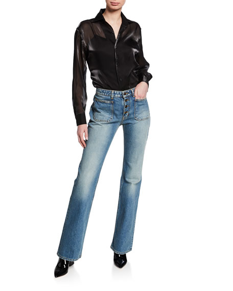 Saint Laurent Exposed-Button Faded Flare Jeans