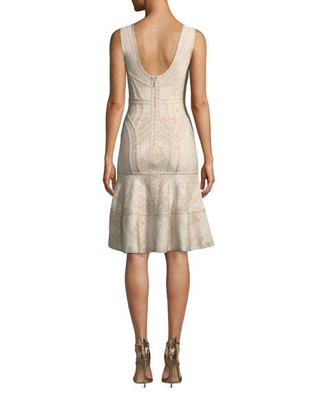Herve Leger Scoop-Neck Sleeveless Shimmery Flounce Dress