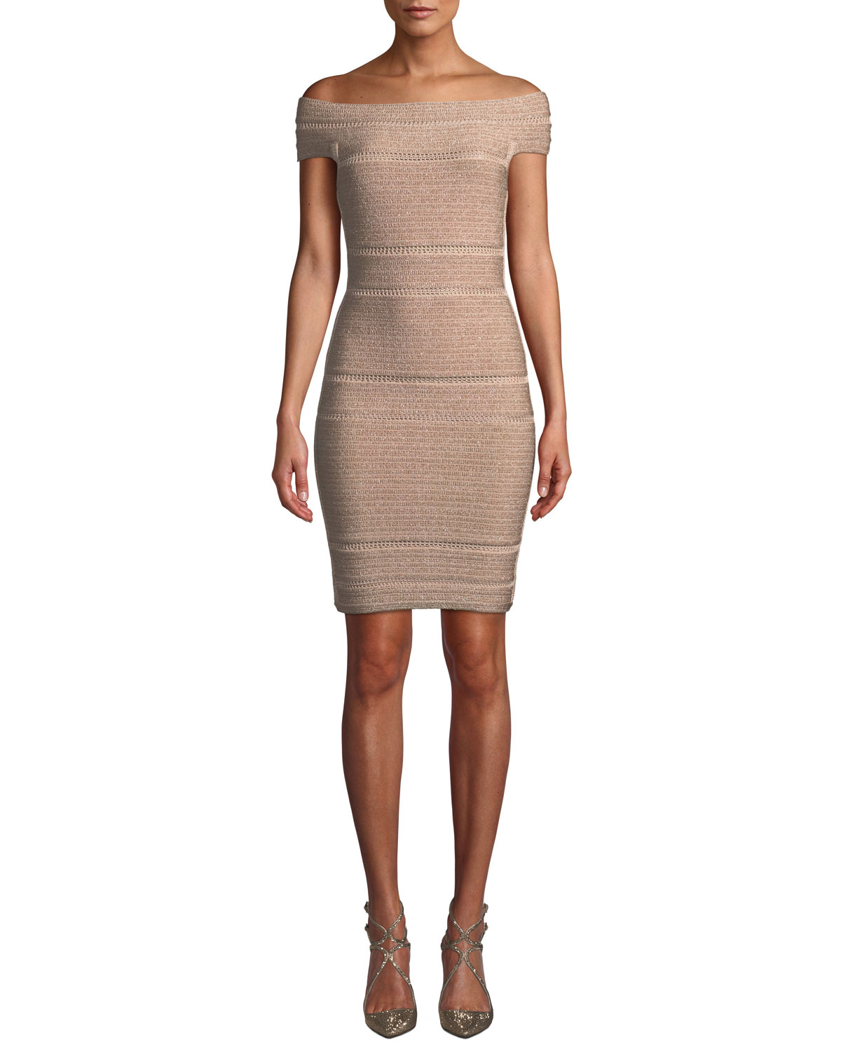 23040fabe6ec Herve Leger Off-The-Shoulder Bandage Dress
