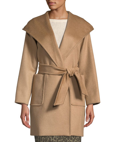 Rialto Camel Hair Belted Short Hooded Coat