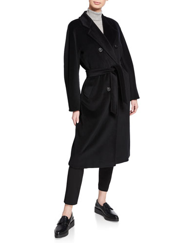 Wool-Cashmere Belted Madame Coat