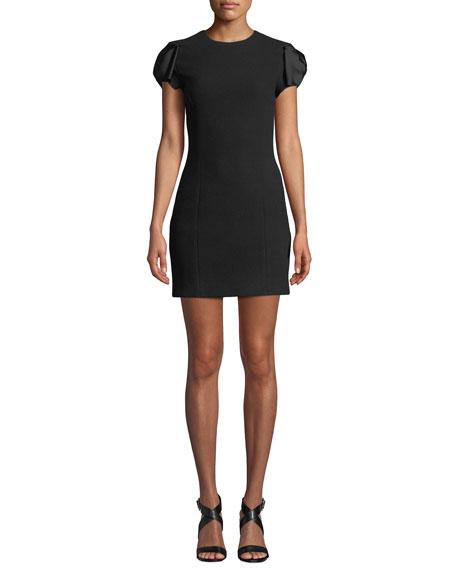 Michael Kors Collection Satin Bow-Sleeve Boucle Crepe Mini Dress