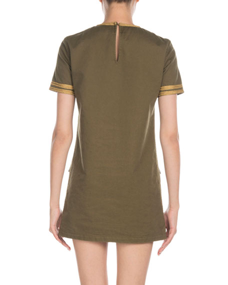 Saint Laurent Darling-Embroidered Short-Sleeve Gabardine T-Shirt Dress