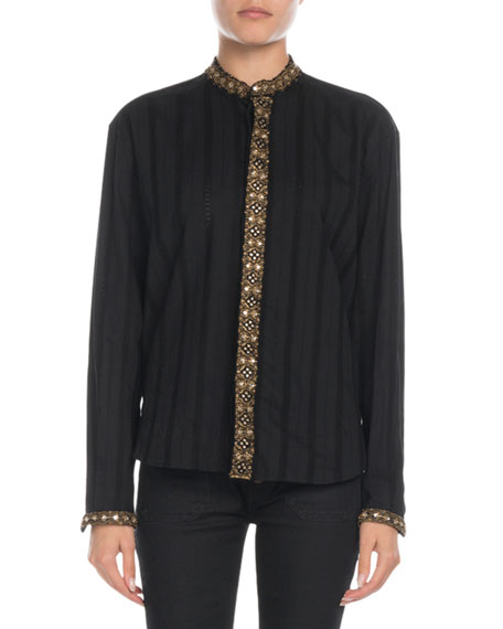 Saint Laurent Beaded-Trim Jacquard Stripe Blouse