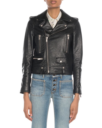 Classic Calfskin Leather Moto Jacket with Star Lining