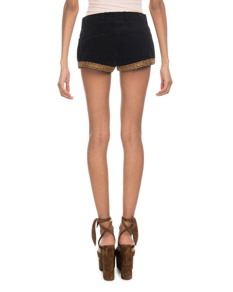 Saint Laurent Golden-Embroidered Velvet Shorts