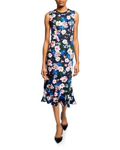 Grazia Sleeveless Flounce-Hem Midi Dress