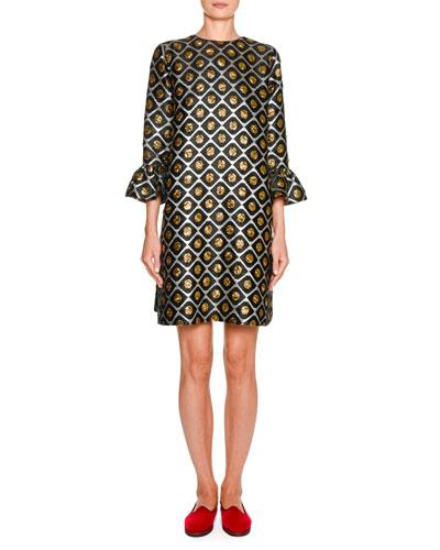 247 Flare-Sleeve Jacquard Dress