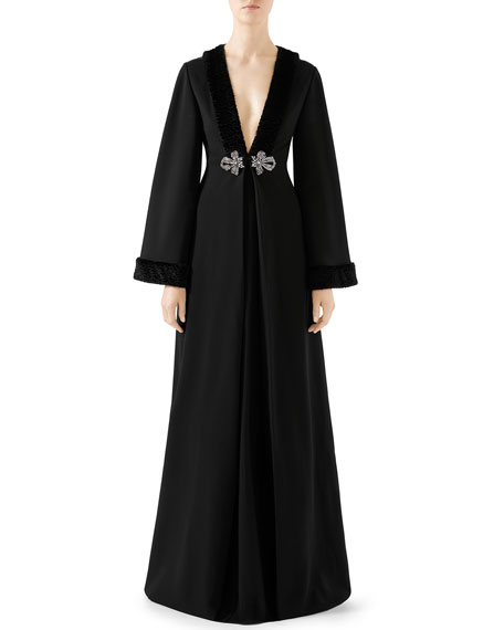 Gucci Long-Sleeve Faux-Fur Trim Jersey Gown