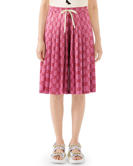 Gucci Logo-Print Pleated Wide-Leg Technical Jersey Shorts