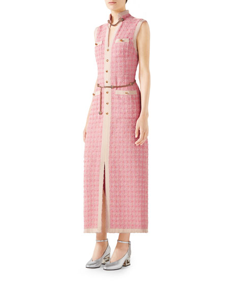 Gucci Sleeveless Long Tweed Dress with Chain Belt