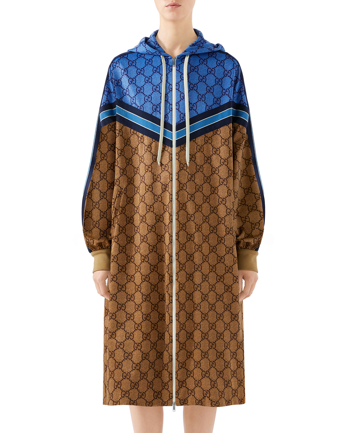 f9c2f3d4b Gucci Long-Sleeve Zip-Front GG Technical Jersey Jacket | Neiman Marcus